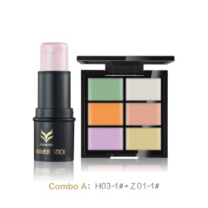 HUAMIANLI 2PCS/Set 6 Colors Concealer Cream Palette with Highlighter Stick Shimmer - Z01-1#+H03-1#
