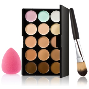 HUAMIANLI 15 Colors Makeup Concealer Contour Palette + Makeup Brush + Water Drop Sponge Puff