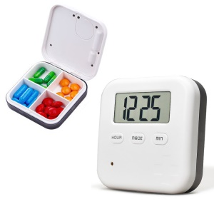 4 Blocks Medicine Separated Pill Box Case Pill Organizer with Electronic Timer Alarm Reminder - White / Grey