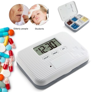 Portable 6 Grids Pill Organizer Medicine Separated Pill Box Case with Electronic Timer Alarm - White / Grey