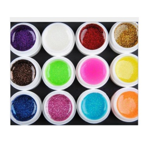12Pcs 8ml UV Gel Set Nail Art 12-color - Glitter Powder