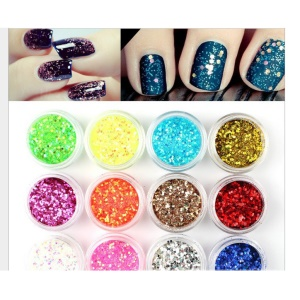 12 Colors Nail Art Glitter Tips Decoration Salon Tool Set - Shell Powder