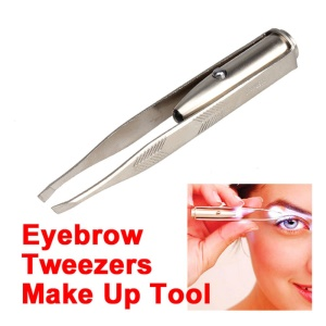 Stainless Steel Eyebrow Clip Tweezer Makeup Tool with LED Light