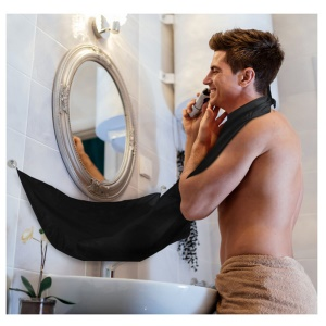 Beard Shaving Apron Cape Cloth with Two Suction Cups - Black