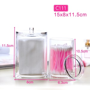 C111 Crystal Clear Acrylic Cosmetic Swabs Pads Storage Box Case