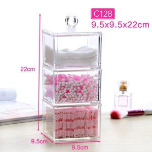 C128 3-layer Acrylic Clear Swabs Pads Storage Box Case