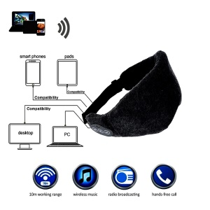 YILON Wireless Bluetooth 3.0+EDR Sleep Mask Headphone Velvet Music Eye Patch - Black