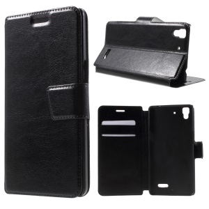 Crazy Horse Card Slot Leather Cover Case for OPPO R7 - Black