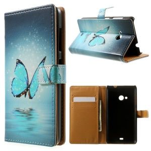 Blue Butterfly Wallet Leather Cover for Microsoft Lumia 535 / 535 Dual SIM w/ Stand