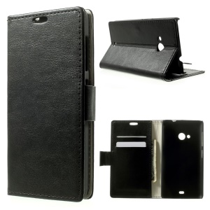 Crazy Horse Pattern for Microsoft Lumia 535 / 535 Dual SIM Wallet Leather Stand Case - Black