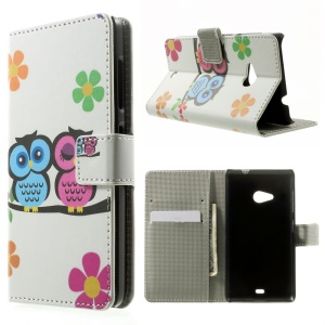Couple Owl for Microsoft Lumia 535 / 535 Dual SIM Leather Wallet Case