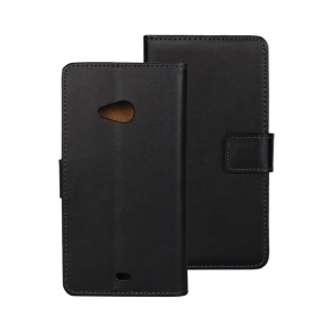 Genuine Split Leather Wallet Cover for Microsoft Lumia 535 / 535 Dual SIM w/ Stand - Black