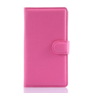 Litchi Wallet Leather Shell for Microsoft Lumia 535 / Dual SIM w/ Stand - Rose