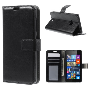 Crazy Horse Leather Wallet Case para Microsoft Lumia 535 / 535 dual SIM - negro
