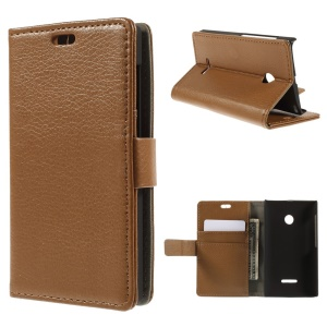 Litchi Skin Leather Stand Cover for Microsoft Lumia 532 / 532 Dual SIM - Brown