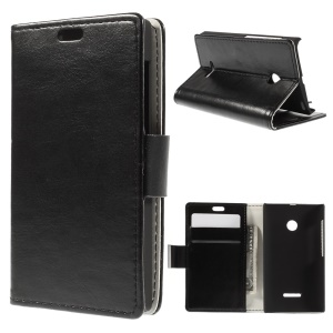 Crazy Horse Leather Stand Case for Microsoft Lumia 532 / 532 Dual SIM - Black