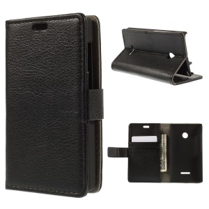 Lychee Skin Leather Stand Case for Microsoft Lumia 435 / Dual Sim - Black