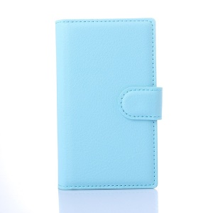 Litchi Skin Leather Wallet Case Cover for Microsoft Lumia 435 / Dual Sim - Blue