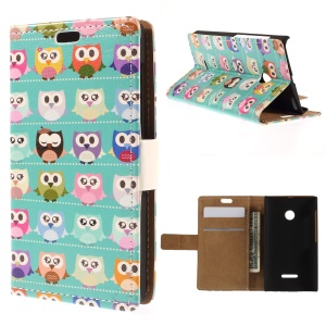 Stand Leather Wallet Cover for Microsoft Lumia 532 / 532 Dual SIM - Multiple Owls in Blue Background