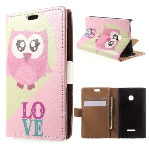 Pink Owl Painting Leather Wallet Cover for Microsoft Lumia 435 / Dual Sim