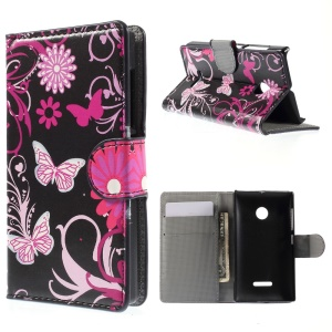 Butterfly Flowers Leather Cover for Microsoft Lumia 532 / 532 Dual SIM