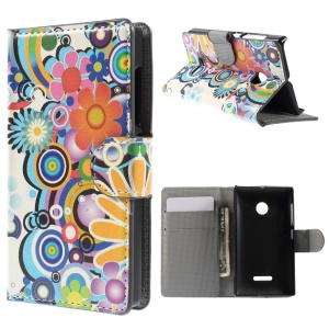 Colorful Flowers Leather Cover for Microsoft Lumia 532 / 532 Dual SIM