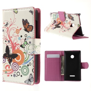 Butterfly Circles PU Leather Cover for Microsoft Lumia 435 / Dual Sim