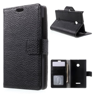 Cowhide Leather Wallet Case for Microsoft Lumia 532/532 Dual SIM - Black