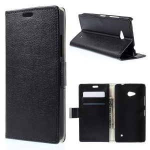 Flip Leather Wallet Stand Case for Microsoft Lumia 640 Dual SIM / 640 LTE - Black