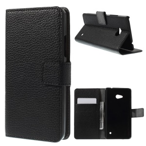 Lychee Grain Leather Case with Card Slots for Microsoft Lumia 640 Dual Sim / 640 LTE - Black
