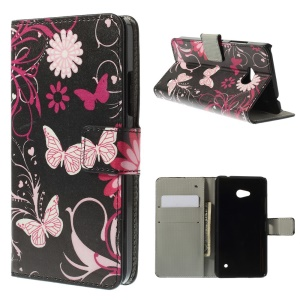 Butterfly Flowers Magnetic Leather Stand Cover for Microsoft Lumia 640 Dual Sim / 640 LTE