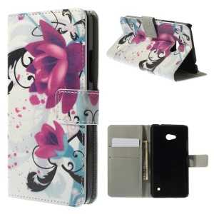 Elegant Lotus PU Leather Card Holder Cover for Microsoft Lumia 640 Dual Sim / 640 LTE
