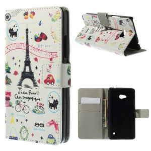 Eiffel Tower & Fruits PU Leather Stand Cover for Microsoft Lumia 640 Dual Sim / 640 LTE