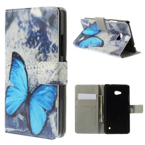 Blue Butterfly Wallet Leather Stand Cover for Microsoft Lumia 640 Dual Sim / 640 LTE