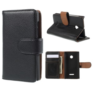 Synthetic Leather Case Wallet Card Slots for Microsoft Lumia 435 / 435 Dual - Black
