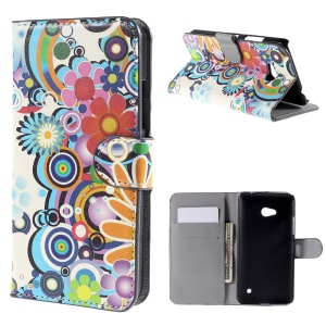 Colorized Flowers Leather Case for Microsoft Lumia 640 Dual Sim / 640 LTE with Card Slots