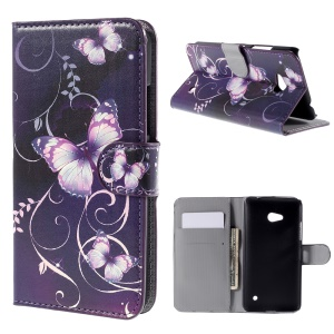 Blue Butterflies Leather Cover Case for Microsoft Lumia 640 Dual Sim / 640 LTE with Card Slots
