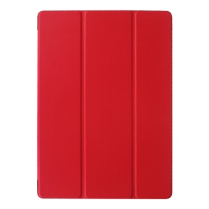 Lychee Skin Leather Protective Case for Microsoft Surface 3 with Tri-fold Stand - Red