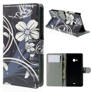 Wallet Leather Stand Cover for Microsoft Lumia 540 Dual SIM - White Flower
