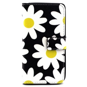Folio Leather Protective Case for Microsoft Lumia 535 / 535 Dual Sim - White Daisies