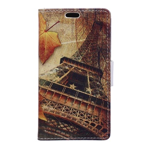 Wallet Leather Stand Case for Microsoft Lumia 640 Dual Sim / 640 LTE - Maple and Eiffel Tower