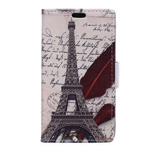 Wallet Leather Stand Cover Case for Microsoft Lumia 640 Dual Sim / 640 LTE - Twill and Eiffel Tower