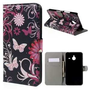 Wallet Leather Cover for Microsoft Lumia 640 XL Dual SIM / 640 XL LTE - Flowers and Butterflies