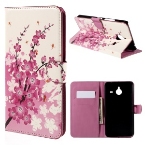 Wallet Leather Case Cover for Microsoft Lumia 640 XL Dual SIM / 640 XL LTE - Plum Blossom