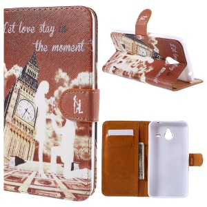 Cross Pattern Magnetic Leather Stand Cover for Microsoft Lumia 640 XL / Dual SIM - Big Ben and Quote