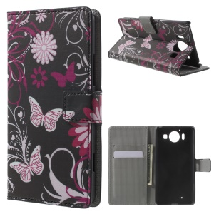 Wallet Leather Stand Case for Microsoft Lumia 950 - Butterfly Flowers
