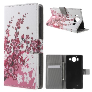 PU Leather Wallet Case for Microsoft Lumia 950 - Plum Blossom