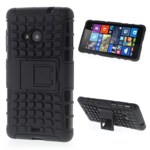 Anti-slip PC and TPU Kickstand Cover for Microsoft Lumia 535 / 535 Dual SIM - Black