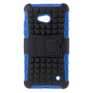 Anti-slip Grid PC and TPU Back Case for Microsoft Lumia 640 Dual Sim / 640 LTE - Blue