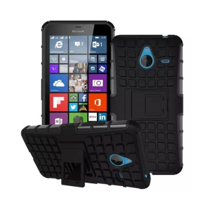 Anti-slip Grid Pattern PC + TPU Hybrid Case for Microsoft Lumia 640 XL / Dual SIM - Black